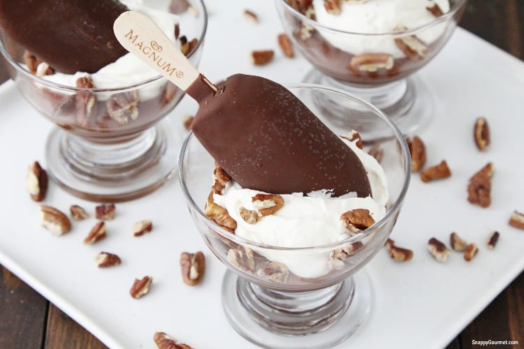 turtle cups made up of glass dessert bowl with caramel, whipped cream, and ice cream bar