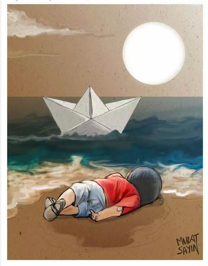Buenas noches angelito aylan kurdi. No merecías este final. Nadie es refugiado, somos todos humanos..