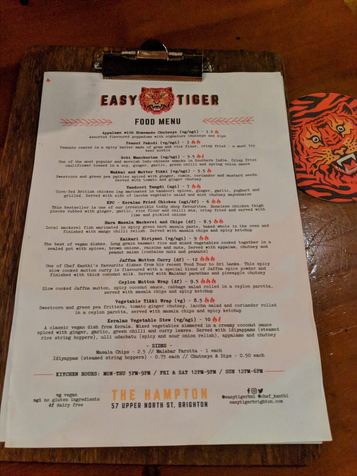 menu on clipboard at easy tiger brighton