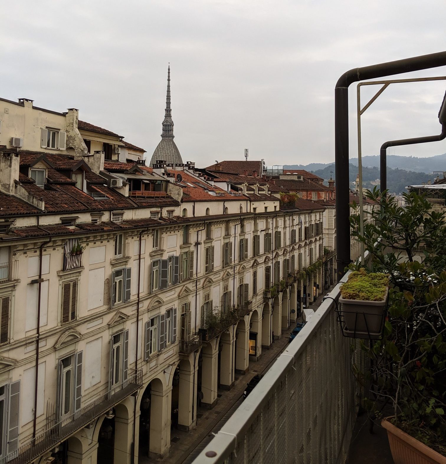 turin rooftops with mountains in the background