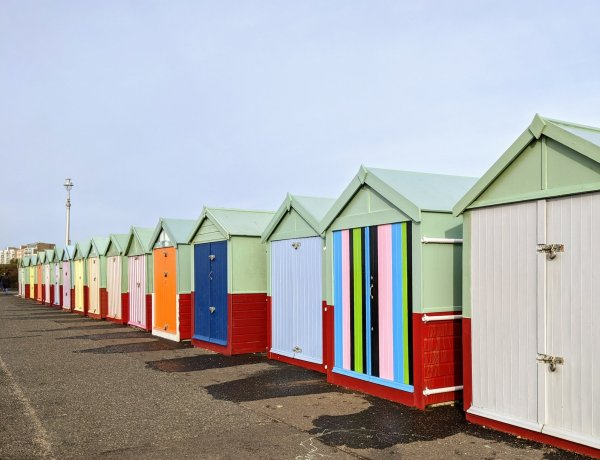 colourful wooden beach huts january 2020 hove, england