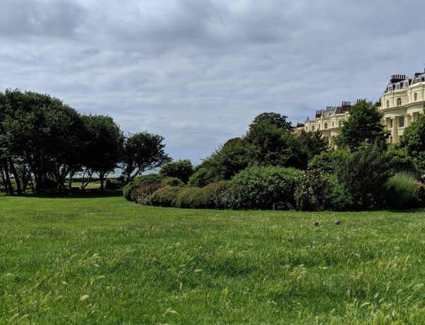 green space with grass and trees . Blue sky with regency buildings around edge