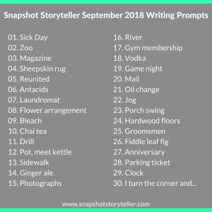 Snapshot Storyteller: September 2018 Writing Prompts -- It's a new month and you know what that means? That's right, new writing prompts. Enjoy! | www.snapshotstoryteller.com #amwriting #snapshotstoryteller #creativestoryteller #creative #storyteller #creativewriter #IWrite #WriteOn #writingprompts #writingprompt