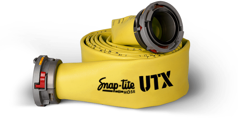 Snap-tite UTX rubber hose in yellow curled up with couplings