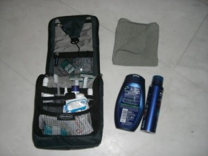 Travel toiletries and travel towel.