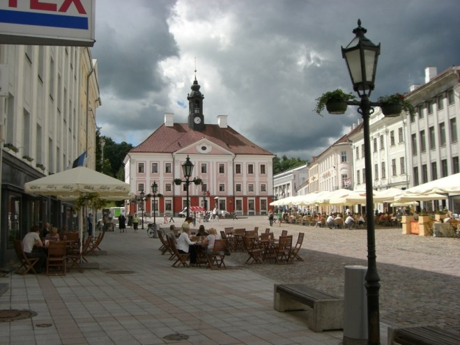 Town Hall and town square, Tartu, Estonia.