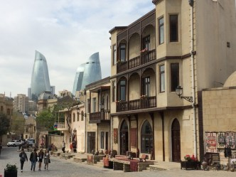Baku old town and Flame Towers