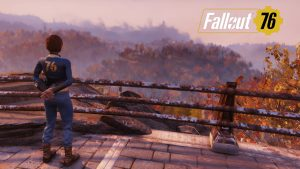 A Vault Dweller, Heather, standing over looking at Appalachia .
