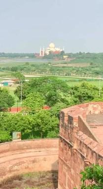 taj mahal seen from red fort