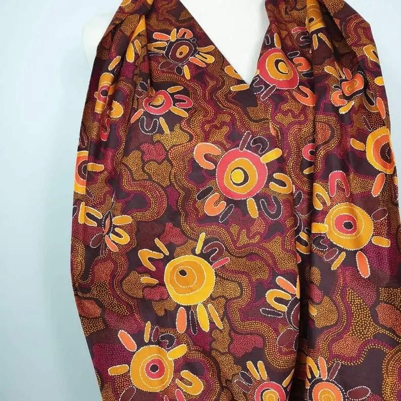 Aboriginal print scarf Snazzy Trips