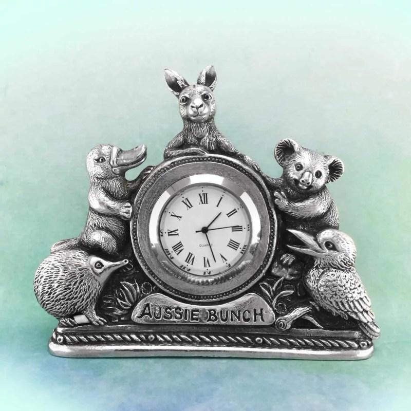 Australian animals pewter clock Snazzy Trips