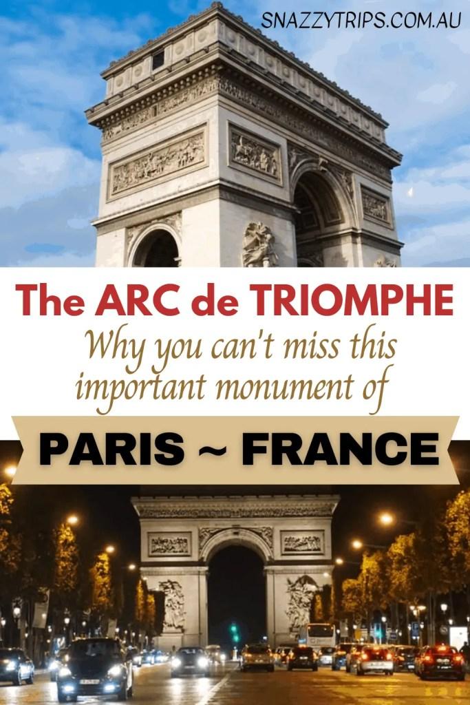 The Arc de Triomphe monument, Paris France