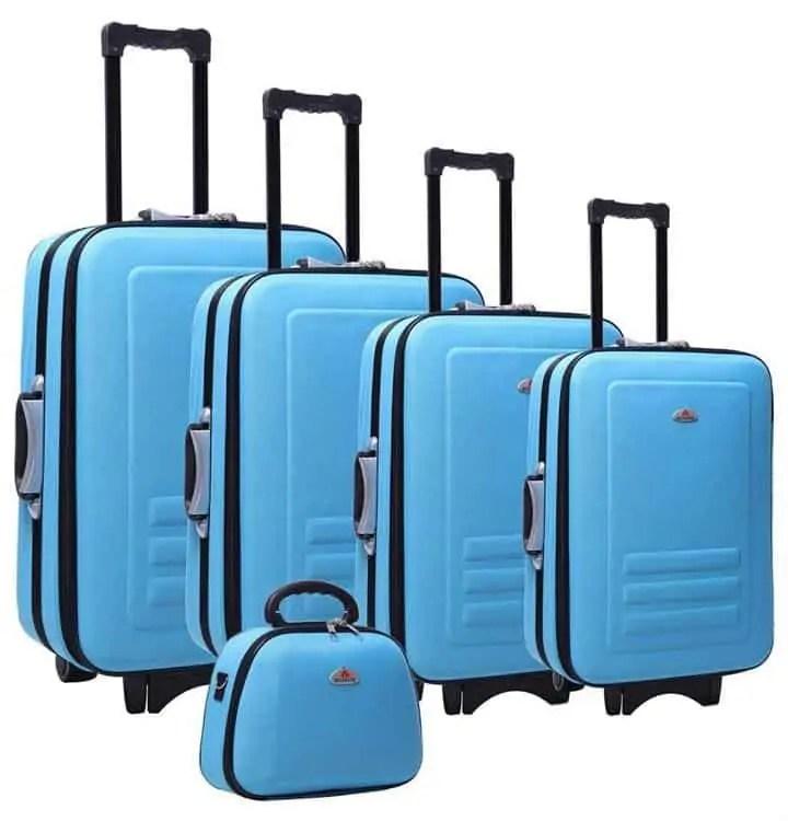 5 piece blue luggage set Snazzy Trips