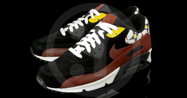 "Photo02 - NIKE AIR MAX 90 ""AZTEC"" BLACK/OXEN BROWN-SAIL"