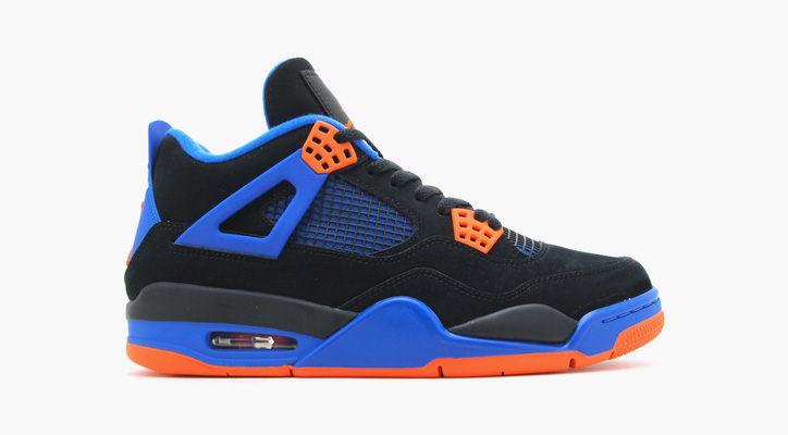Photo01 - NIKE AIR JORDAN 4 RETRO BLACK/SAFETY ORANGE-GAME ROYAL
