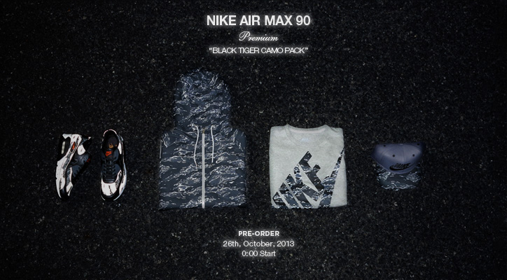 "NIKE AIR MAX 90 PREMIUM ""BLACK TIGER CAMO PACK"" の先行予約を開始"