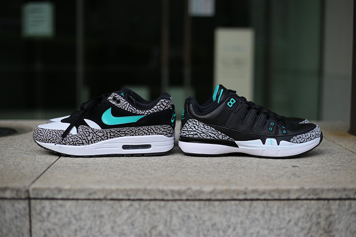 "Photo04 - NIKE COURT ZOOM VAPOR RF X AIR JORDAN 3 ""atmos""がSports Lab by atmos Shinjukuにて世界先行発売"