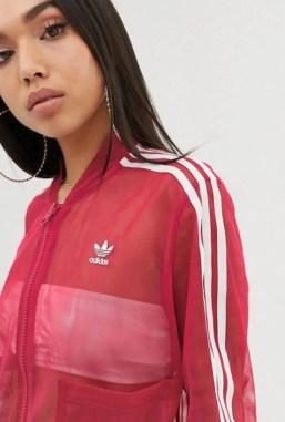 adidas Originals Sleek three stripe mesh tulle skirt in pink-07