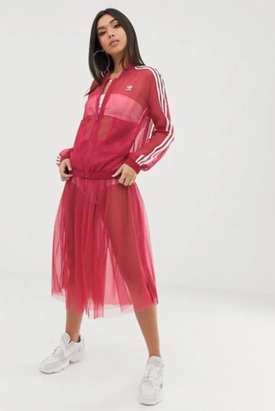adidas Originals Sleek three stripe mesh tulle skirt in pink-08