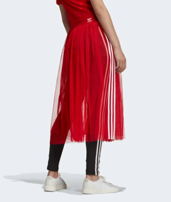 adidas Originals Sleek three stripe mesh tulle skirt in pink-12