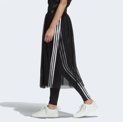 adidas Originals Sleek three stripe mesh tulle skirt in pink-15