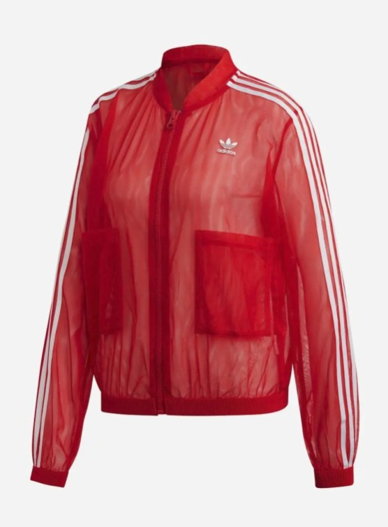 adidas Originals Sleek three stripe mesh tulle track jacket