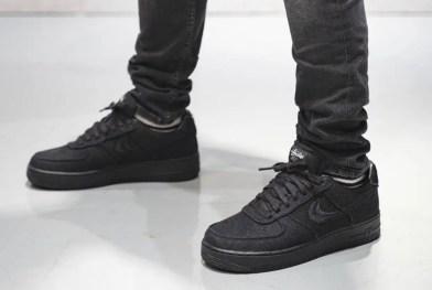 Stussy Nike Air Force 1 Low Black CZ9084-001 ステューシー ナイキ エア フォース 1 ブラック pair above