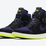 """ナイキ エア ジョーダン 1 ハイ ズーム WMNS """"レモン ヴェナム """" Air-Jordan-1-High-Zoom-Black-Court-Purple-Lemon-Venom-CT0979-001-pair"""