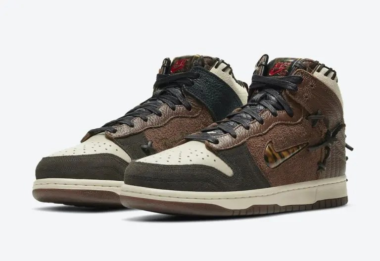 ボデガ × ナイキ ダンク ハイ Bodega-Nike-Dunk-High-Fauna-Brown-Rustic-Velvet-Brown-Multi-Color-CZ8125-200 CZ8125-200 wearing