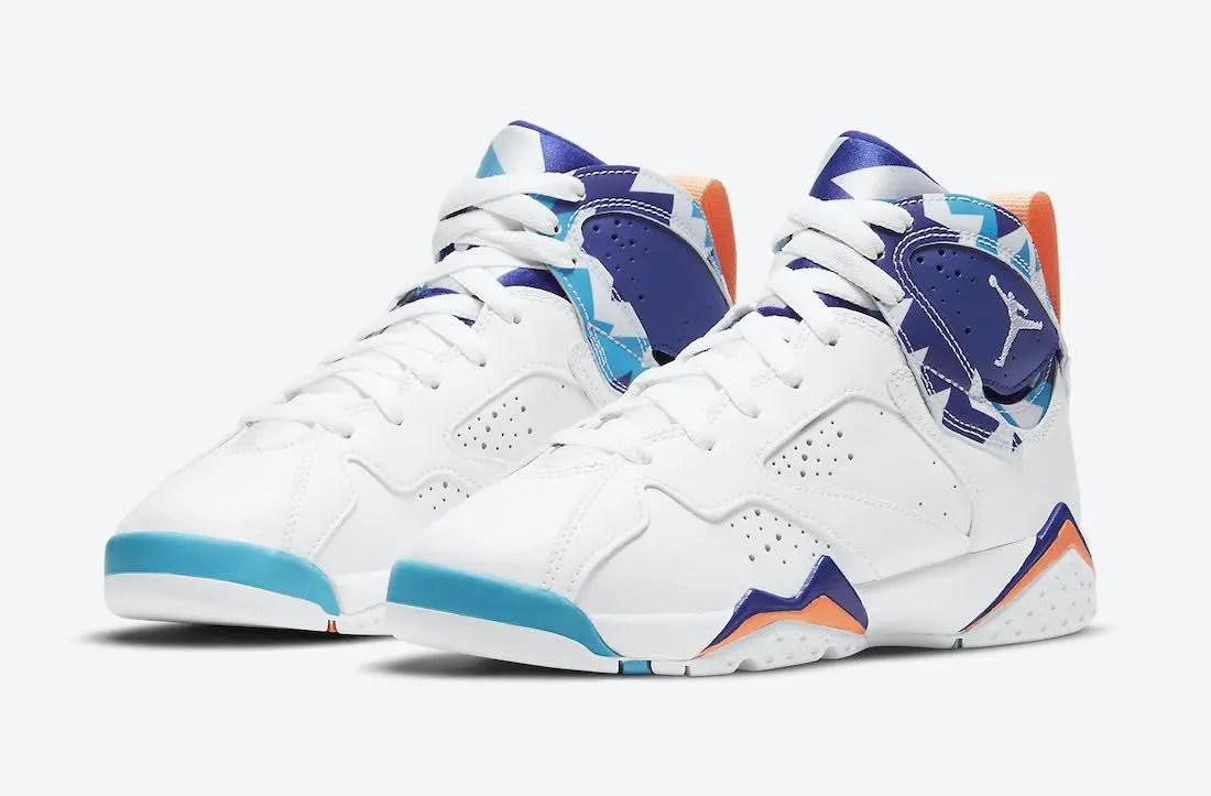 """ナイキ エア ジョーダン 7 GS """"クローリンブルー"""" Nike-Air-Jordan-7-GS-White-Chlorine-Blue-442960-100-1-pair"""