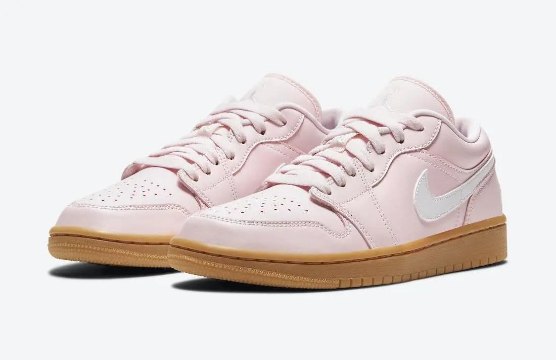 """ナイキ エア ジョーダン 1 ロー """"ピンクガム"""" Nike-Air-Jordan-1-Low-Arctic-Pink-Gum-DC0774-601-pair"""