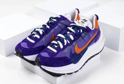 Sacai Nike VaporWaffle Dark Iris Campfire Orange サカイ ナイキ コラボ ヴェイパー ワッフル パープル オレンジ detail pair