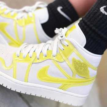 """ナイキ エア ジョーダン 1 ミッド LX """"オプティ イエロー"""" Nike-Air-Jordan-1-Mid-LX-Opti-Yellow-DA5552-107-top wearing"""