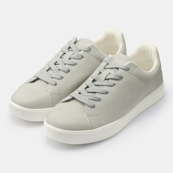 GU ジーユー ライト ソール レザー タッチ スニーカー グレー Light-Sole-Leather-Touch-Sneaker-E-Off-grey