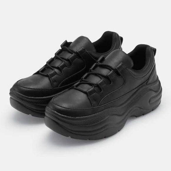 GU ジーユー ボリューム ソール スニーカー 厚底 ブラック Volume-Sole-Sneaker-YGE-Black