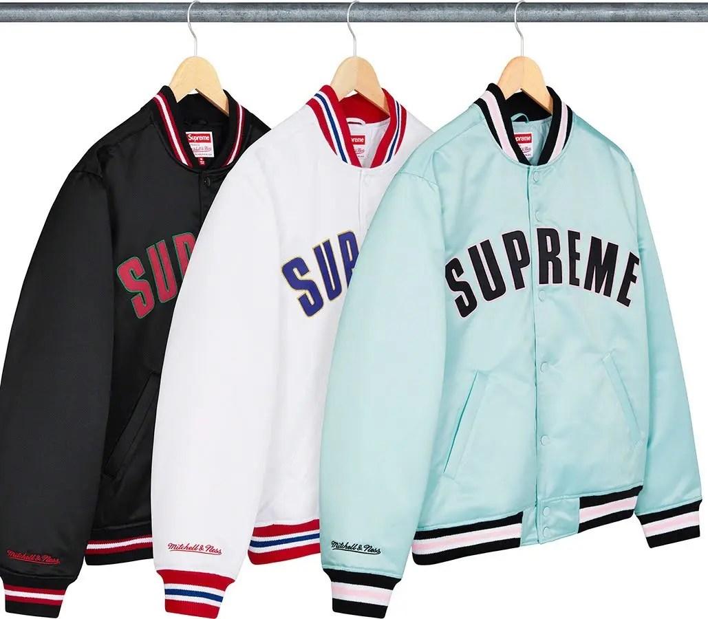 シュプリーム 2021年 春夏 新作 ジャケット Supreme 2021ss jacket 一覧 supreme-mitchell-ness-satin-varsity-jacket-front