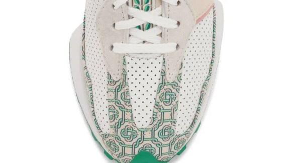カサブランカ ニューバランス コラボ 327 モノグラム エディション casablanca-x-new-balance-327-monogram-white-green-closeup
