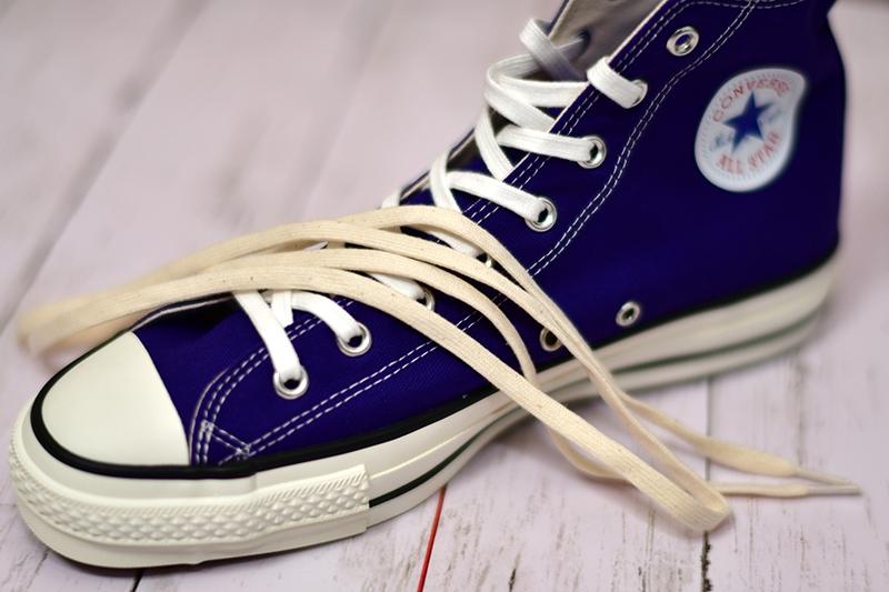 コンバース オールスター ハイ ブルー 青 シューレース 靴紐 Converse All Star Blue Canvas Shoe Lace