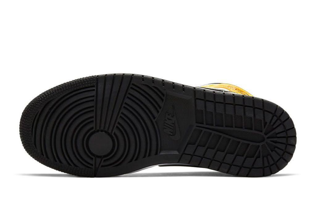 """ナイキ ウィメンズ エア ジョーダン 1 ミッド """"ユニバーシティ ゴールド"""" Nike-Air-Jordan-1-Mid-University-Gold-BQ6472-107-sole"""