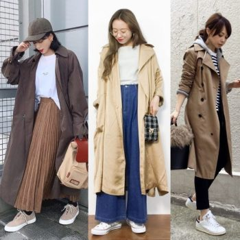 trench coat sneakers outfit women featured image-01