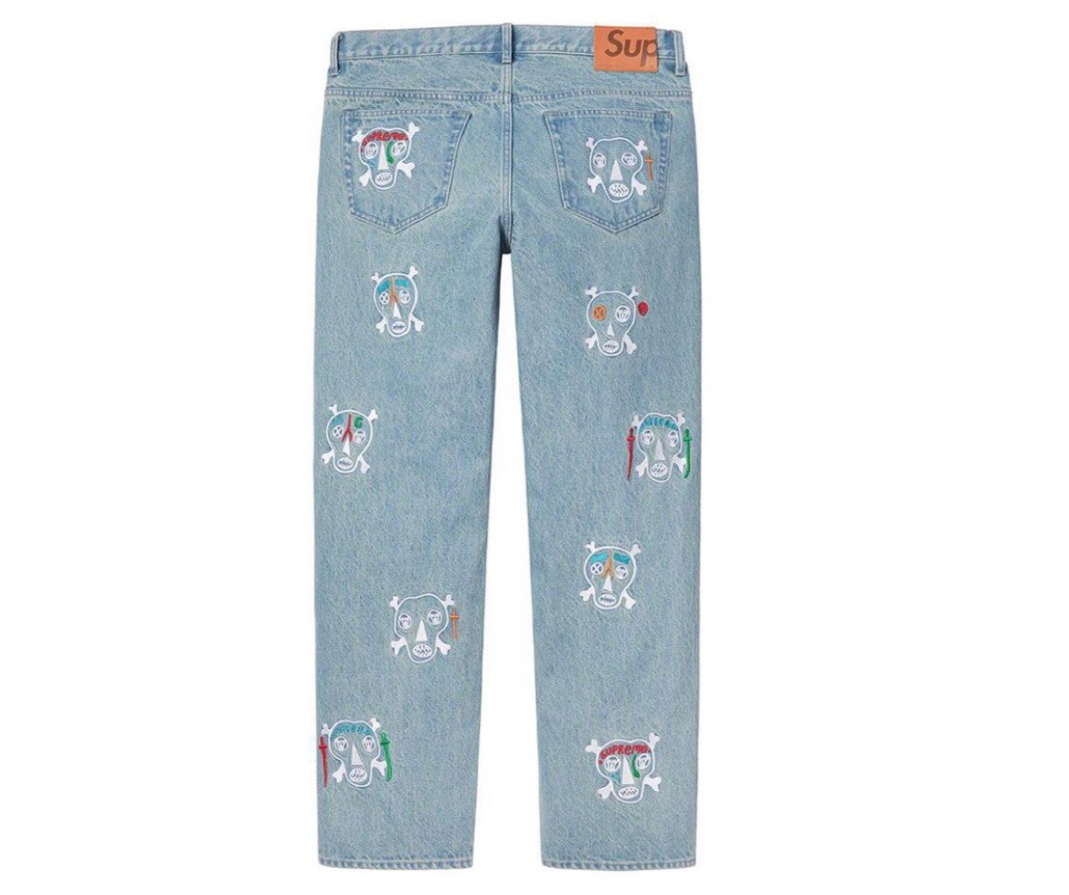 supreme 2021ss シュプリーム 2021春夏 week7 Clayton Patterson Skulls Embroidered Regular Jean