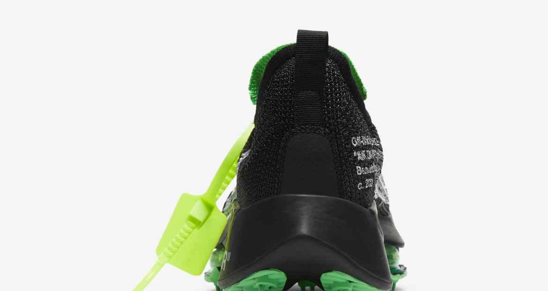 """オフホワイト × ナイキ エア ズーム テンポ ネクスト% """"ブラック"""" off-white-nike-air-zoom-tempo-next-black-cv0697-001-heel-closeup"""