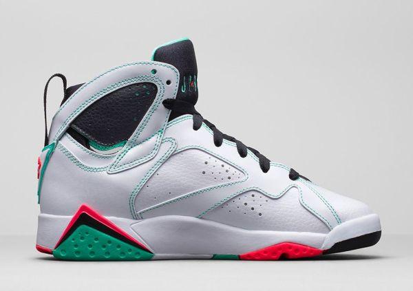Air Jordan 7 Retro GS White Infrared Black Verde Sneaker