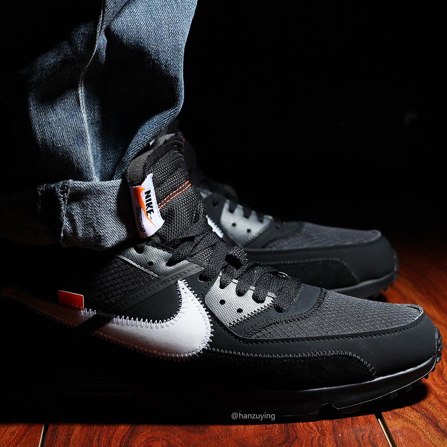 Off White Air Max 90 Black On Feet White X Nike Air Max 90