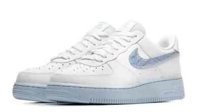 "Photo of Nike Air Force 1 Low ""Hydrogen Blue"" với dấu swoosh psychedelic ảo diệu"