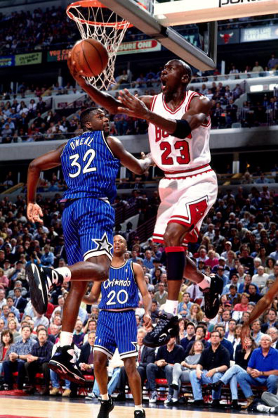Michael Jordan wears the Air Flight One. -- Photo via Barry Gossage of Getty Images