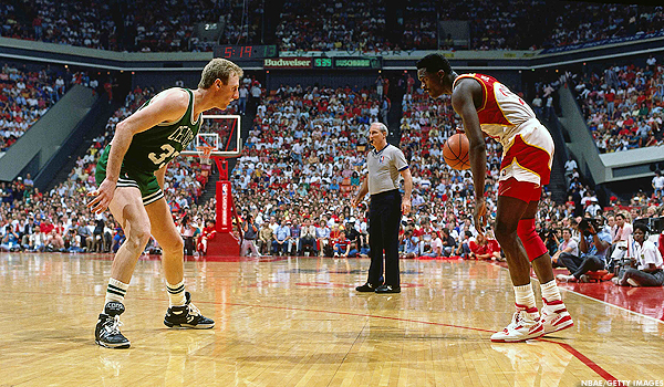 Larry Bird in Converse ERX-400 and Dominique Wilkins in Brooks Highlight