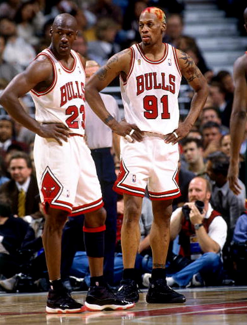 Jordan & Rodman, wearing the Nike Shake Ndestrukt taking a breather after a foul call during the '96 NBA Finals Image via SC