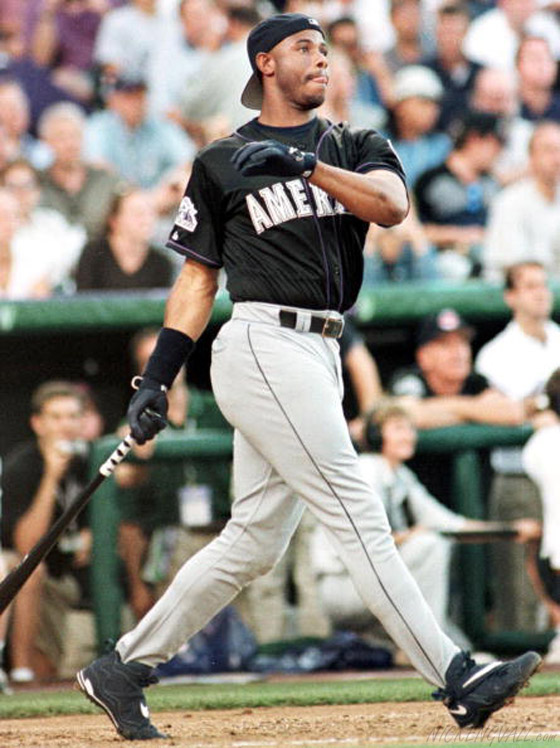 Ken Griffey Jr. of the Seattle Mariners wearing the Air Griffey Max III