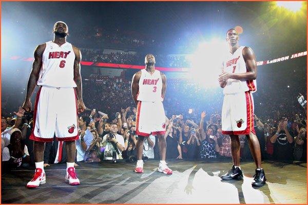 LeBron James in Nike Huarache 2010, Dwyane Wade in Air Jordan 2010 and Chris Bosh in Air Max Hyperfly